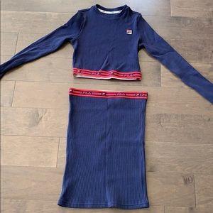 Fila long sleeve pencil skirt set!